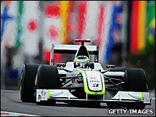 Jenson Button is leading the world championship in a Mercedes-powered Brawn