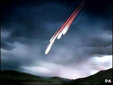 Artists impression of meteorite fall and fireball