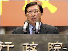 Premier Liu Chao-shiuan announces his resignation, Monday, Sept. 7, 2009