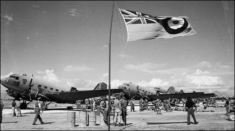 "Archive picture of ""Dakota landings"" in Montenegro, 1944"