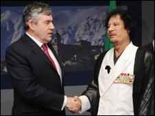 Gordon Brown and Colonel Gaddafi