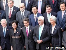 Officials at the London G20 finance ministers meeting