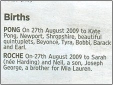 The announcement of Kate Pong's puppies in The Times