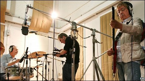 Rock legends Nick Mason (left) and Bill Wyman (right)  at Abbey Road