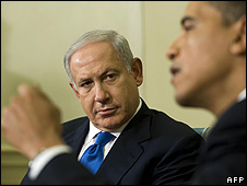 Benjamin Netanyahu and Barack Obama at Oval Office meeting, 18 May 2009