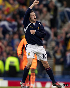 James McFadden celebrates his winner against the Netherlands in 2003