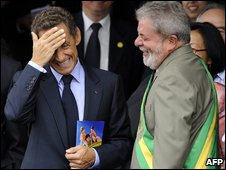 French President Sarkozy and Brazil's President Lula at Independence Day celebrations in Brasilia on 7/09/09