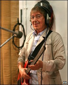 Bill Wyman at Abbey Road playing on a charity song with Terry Wogan