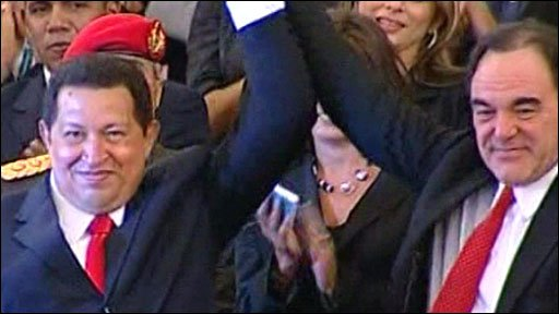 President Hugo Chavez of Venezuela (left) and Oliver Stone