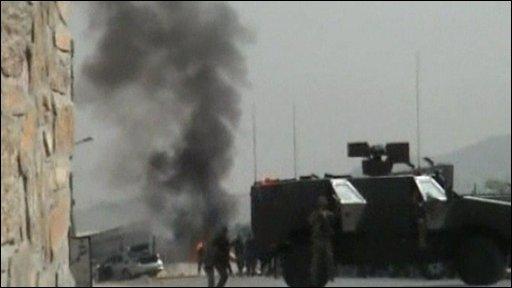 Smoke outside Kabul airport