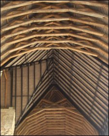 Looking up into the roof at Blackfriars Priory, Gloucester