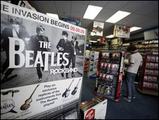 The Beatles: Rock Band promoted in music shop