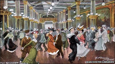 A postcard of the ballroom at Belle Vue from 1910