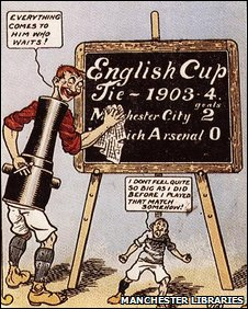 A cartoon postcard from 1904 showing a joke made about Arsenal and Manchester City's cup tie
