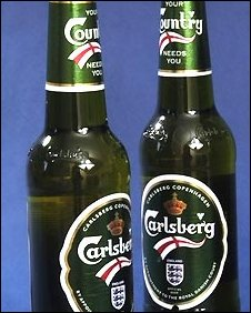 Carlsberg bottles with England logo