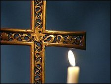 A cross and a candle