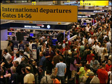Crowds at Heathrow Airport in August 2006