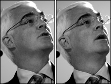 Alistair Darling speaking in Cardiff