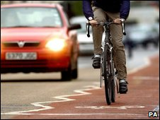 Cyclist on cycle path