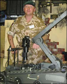 WO2 John Montgomery with Vanguard counter-IED robot