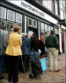 customers Customers queuing outside a Northern Rock branch  in September 2007