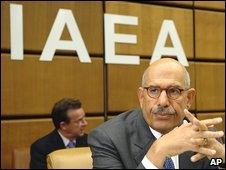 IAEA chief Mohamed Baradei at the start of a week-long meeting of the IAEA in Vienna on Monday