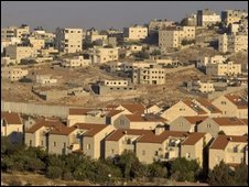 Pisgat Zeev settlement, with West Bank Palestinian neighbourhood Shuafat in the background
