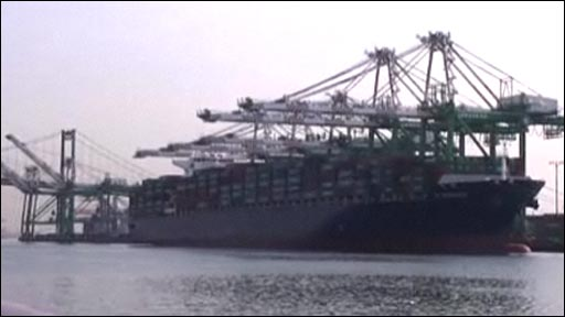 Shipping carrier at Port of Los Angeles, the largest port in the US