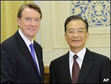 Lord Mandelson and Wen Jiabao