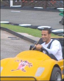 Rio Ferdinand on a go-kart