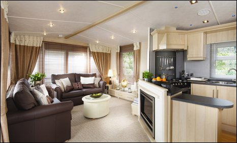 The interior of one of the caravans at Presthaven Sands in Prestatyn