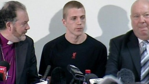 Michael Shields and campaigners at a press conference