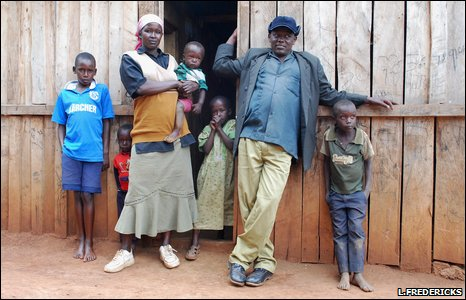 Kipkorir Ngeno and his family at their home in Sisiyan, Mau forest