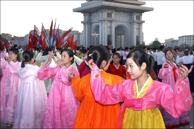 Young women sing and dance in North Korea