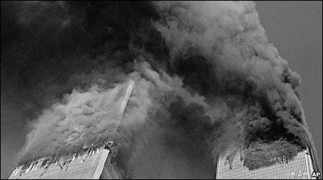 The Twin Towers burning on 11 September 2001
