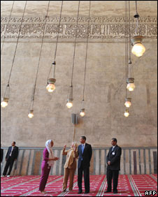 President Obama visits Sultan Hassan mosque in Cairo