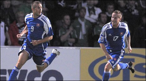 Stanislav Sestak celebrates after scoring at Windsor Park