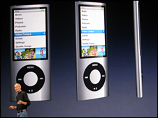 Steve Jobs in front of iPod Nano