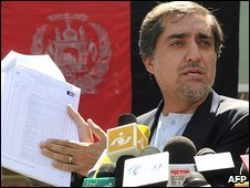 Afghan presidential candidate Abdullah Abdullah in Kabul (5 September 2009)