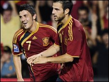 David Villa and Cesc Fabregas