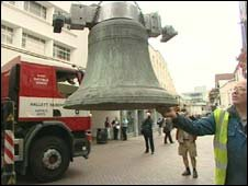 The bells being craned into place