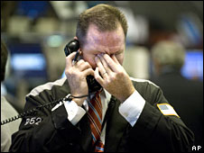 A trader on the New York Stock Exchange receives bad news, October 2008