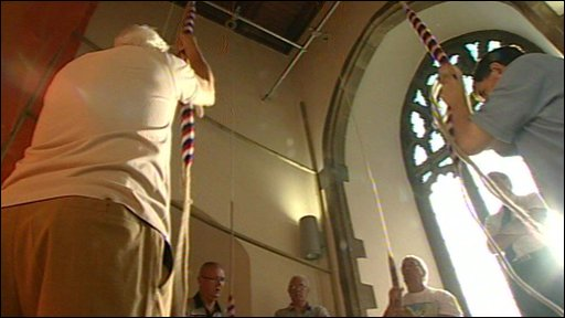 Bell ringers at Ipswich's St Lawrence Church