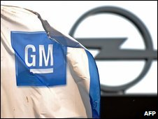 GM flag in front of Opel building