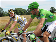 Cavendish and Hushovd at the Tour de France