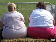 Two fat ladies sitting on a hay bale