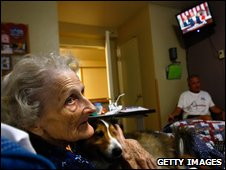 Terminally ill patient Jackie Beattie, 83, watches Mr Obama�s speech on TV at a hospice in Denver, Colorado