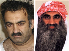 Khalid Sheikh Mohammed pictured upon capture in Pakistan in March 2003  (left) and more recently at Guantanamo Bay (right)
