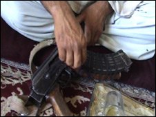 Gul Mohammad with rifle