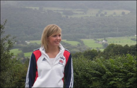 Becky James at home in Abergavenny among the Welsh mountains